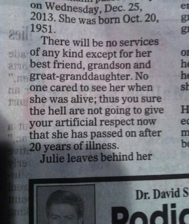 Epic Obituary ~ Keeping It Real!