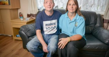 Andrew Foster (40) with his wife Donna, from Minster-on-Sea, Kent.  A welder at a road safety firm was left blinded after an oil drum blew up in his face.  See NATIONAL story NNBLINDED.  Andrew Foster, who used to coach rugby in his spare time, was using a plasma cutter to remove the lid of what he thought was an empty 45-gallon oil drum.  But it exploded and the lid struck the dad of two before flying across the yard of road safety company Highway Care Ltd in Kent.  The 40-year-old was put into an induced coma at King's College Hospital in London and he woke a month later.  He still cannot remember the blast and has had to have nine operations - and is likely to undergo many more.  Maidstone Crown Court heard that Mr Foster lost his sight in both eyes and his face and jaw are now held together by titanium plates.  A bleed on his brain also led to short-term memory problems and his speech is affected by a hole in his mouth.  He had worked at the firm which manufactures road safety and road closure equipment since 2007 and had often cut up oil drums to use as storage for scrap.  His supervisor on the day of the accident in August 2012 had no welding experience and did not know of the explosive risks of using cutting tools on used drums.  Prosecutor Shauna Ritchie for the Health and Safety Executive said the practice of cutting open used oil drums should never have been allowed.
